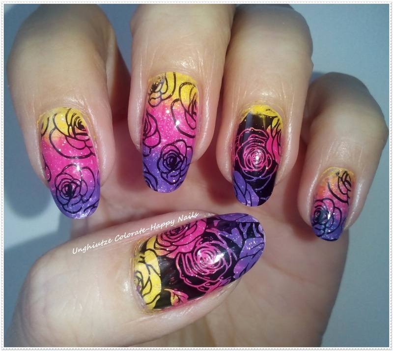 Gradient with stamping nail art by Oana  Alexandru