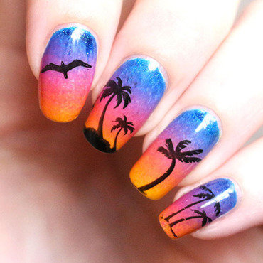 Hawai sunset nail art by Tribulons