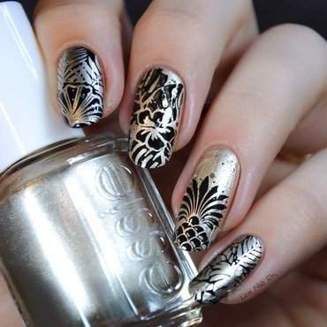 Black & Gold nail art by Love Nails Etc