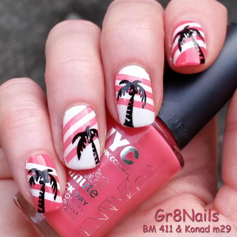 palm trees nail art by Gr8Nails