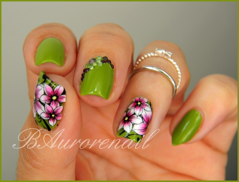 Fleur one stroke et stamping nail art by BAurorenail