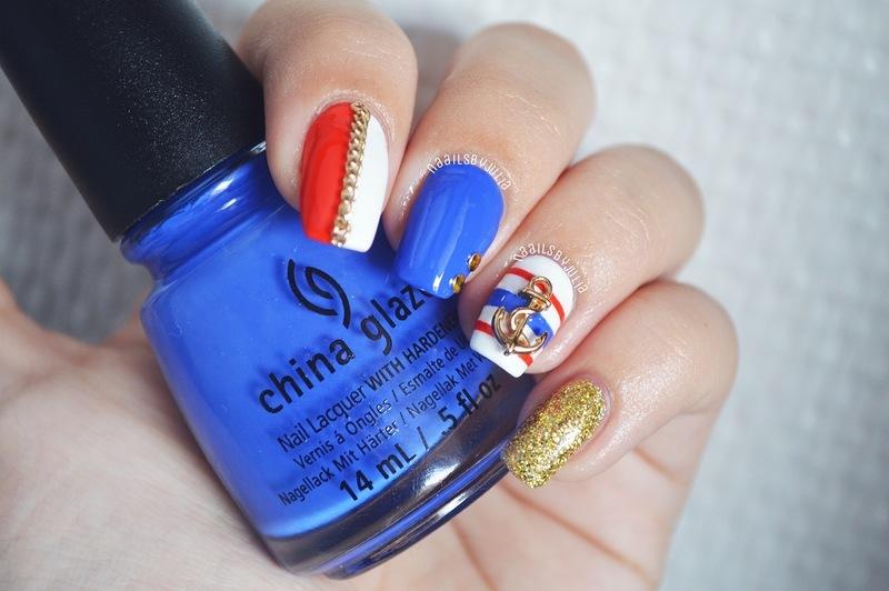 Nautical nail art by Julia