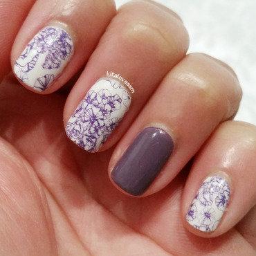 Purple Flowers nail art by kitalovessm