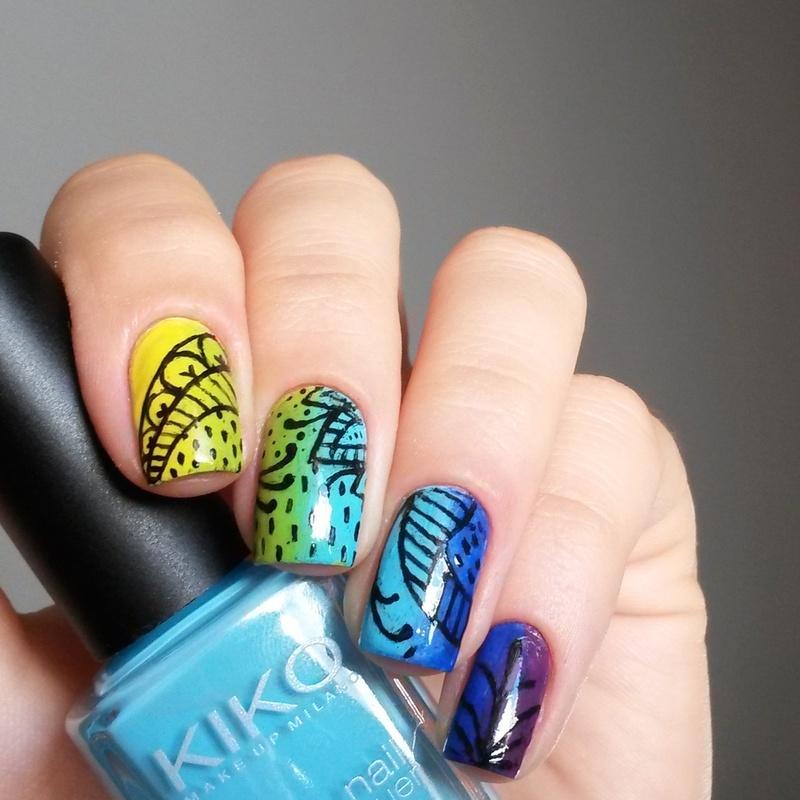rainbow doodles nail art by marina