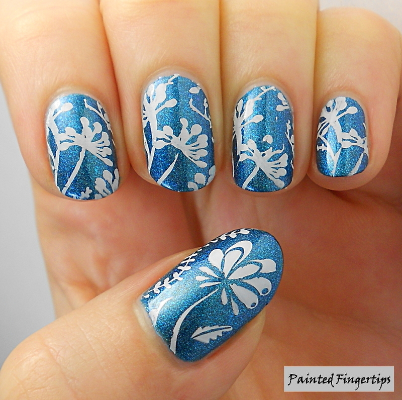 Dandelion stamping nail art by Kerry_Fingertips