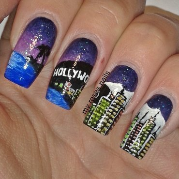 Los Angeles by night nail art by Ewa