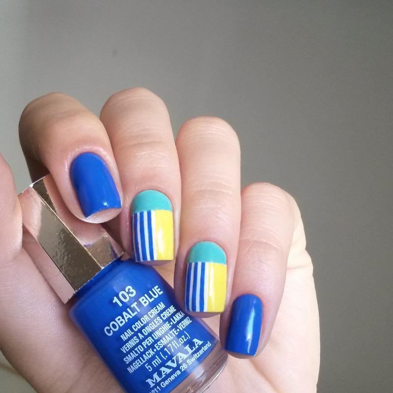 summer colour blocking nail art by marina