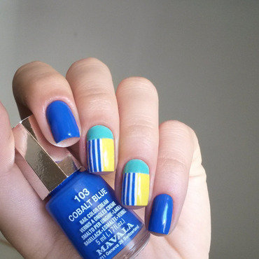 summer colour blocking nail art by marina