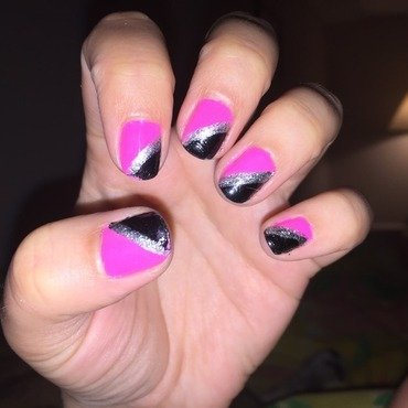 Can't go wrong with black and pink! nail art by Ashley C