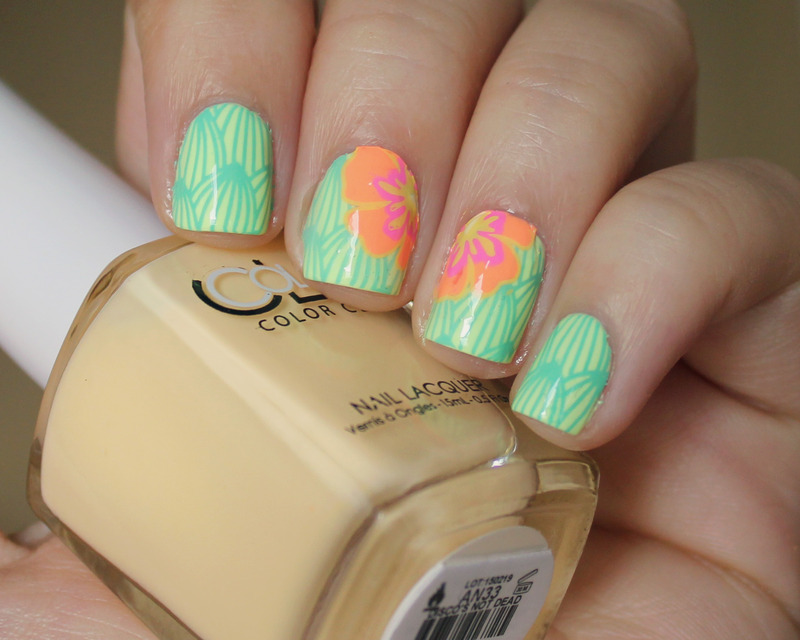 Tropical Flowers nail art by Moriesnailart
