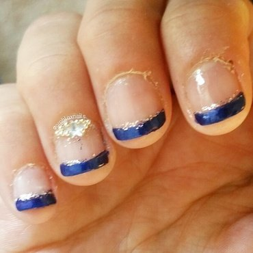 Mariana's blue french tips nail art by Kristen Lovett