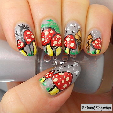 Toadstool nails nail art by Kerry_Fingertips