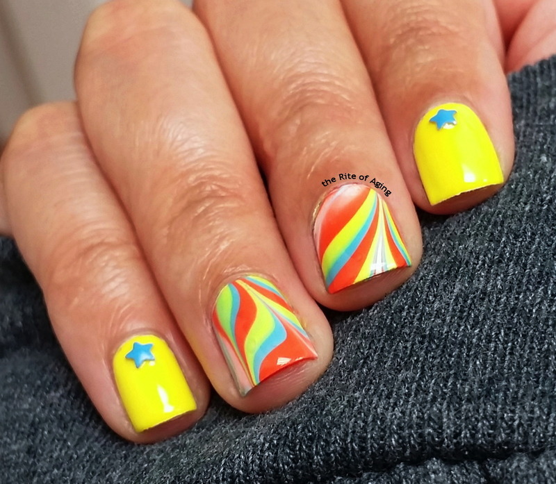 Circus Watermarble nail art by Monica