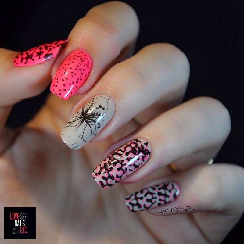 Pink Neon Flower nail art by Love Nails Etc