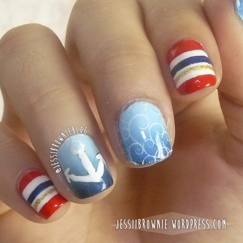 Nautical Nails nail art by Jessi Brownie (Jessi)