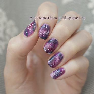Galaxy manicure nail art by Passionorkinda
