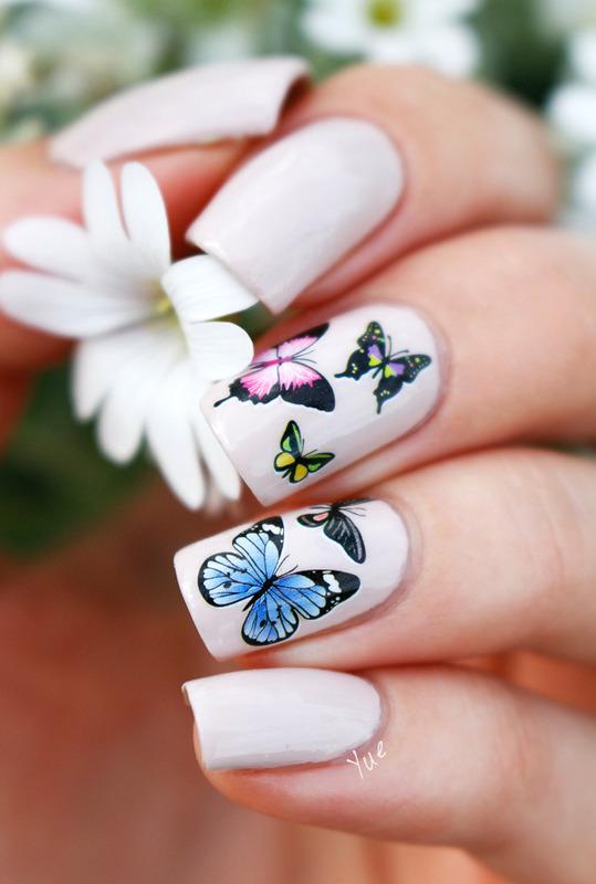 Summer Butterflies nail art by Yue
