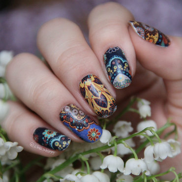 mandala nails nail art by cheshirrr