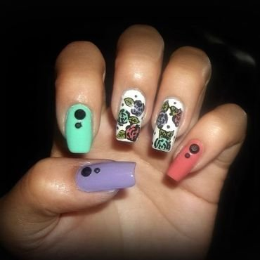 Colorful roses nail art by Jacquelin