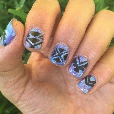 Purple dry brush tribal nail art by Ashley