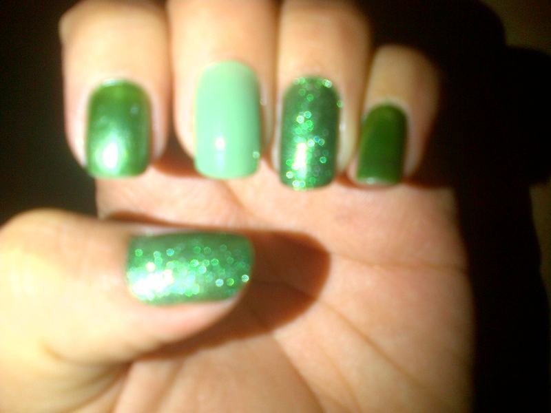 Green nail art by Andreea