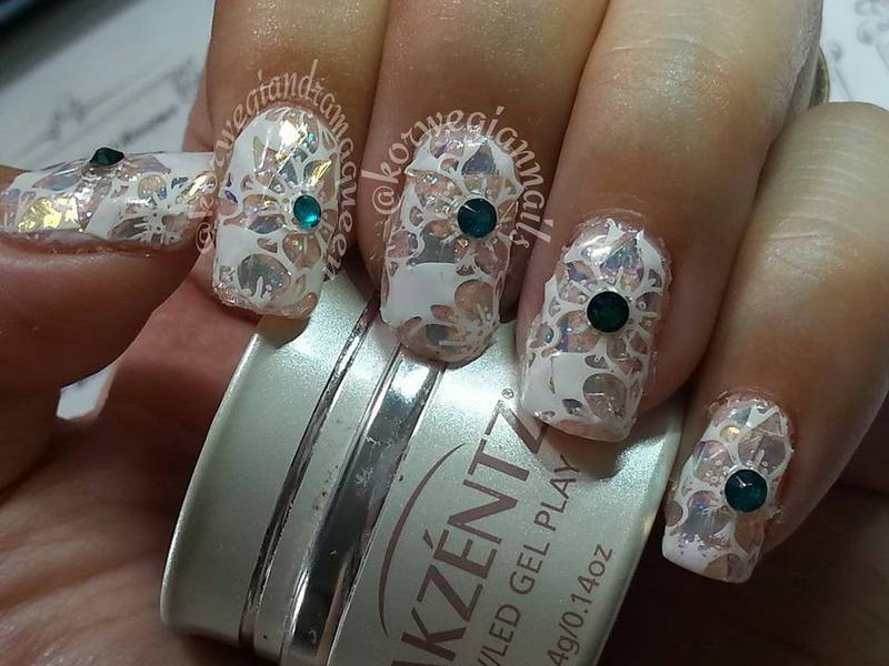 Stained Glass Flowers nail art by Silje  Bannister