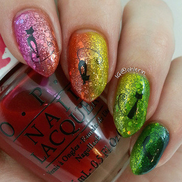 Cats and rainbows nail art by Lindsay