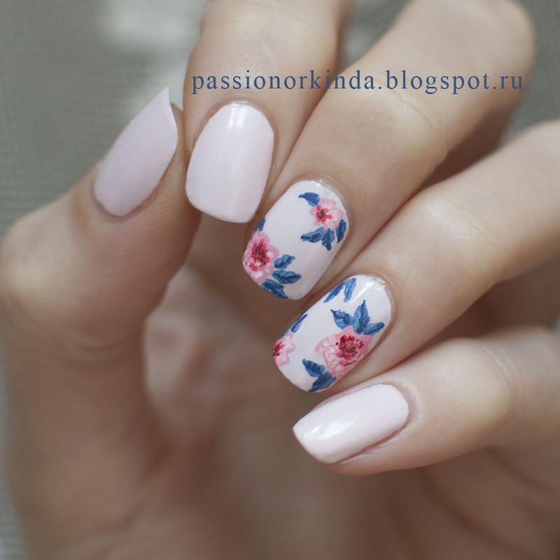 Fantasy floral mani nail art by Passionorkinda