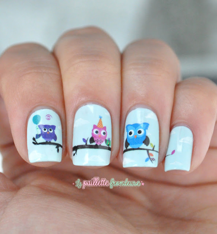 owls birthday nail art by nathalie lapaillettefrondeuse