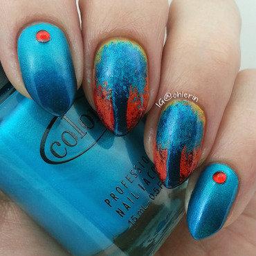 Blue trees nail art by Lindsay