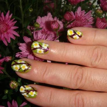 Flowers on a branch nail art by tigerlyly