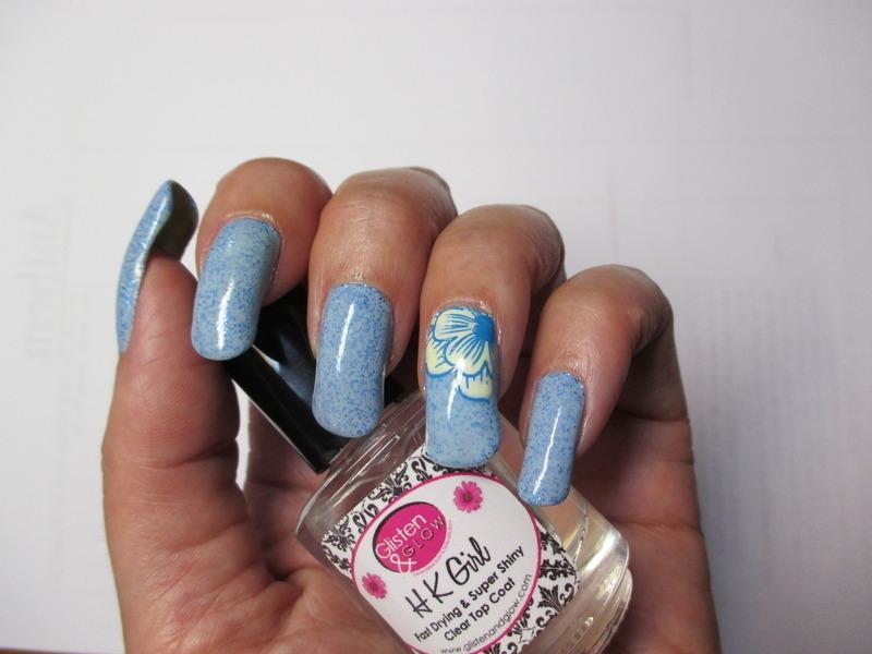 Robins Egg Franken Polish nail art by NinaB