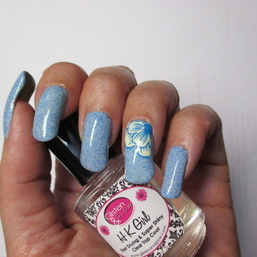 Robins Egg Franken Polish nail art by NinaB