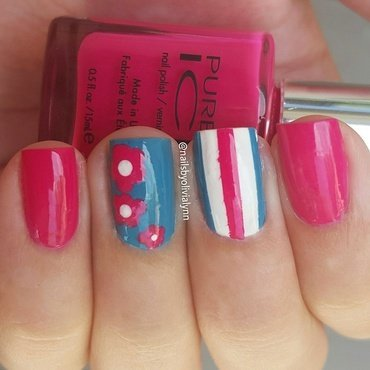 Flowers and Stripes nail art by Olivia D.