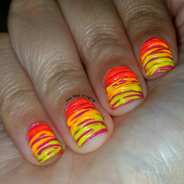 Neon Gradient Sugar-Spin nail art by Monica