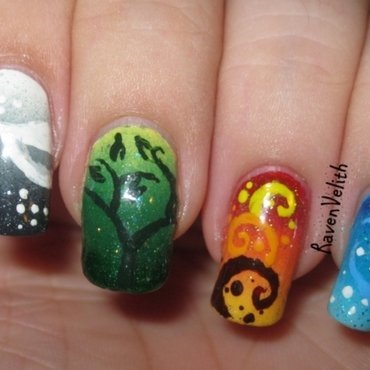 Four Elements nail art by Lynni V.