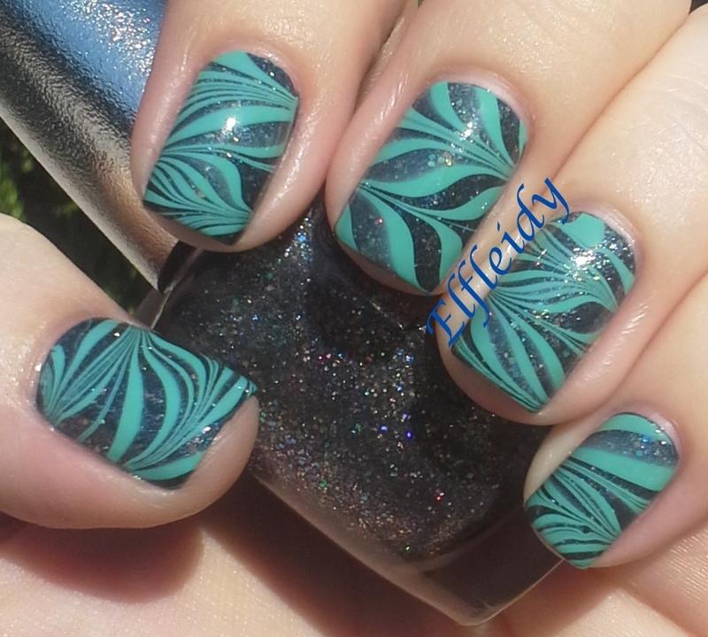 #watermarblepracticewed- glitter base nail art by Jenette Maitland-Tomblin