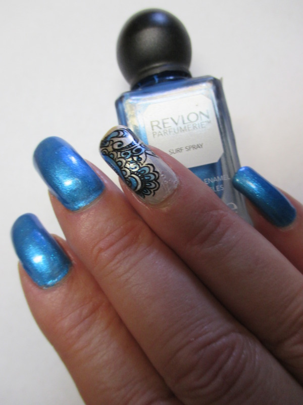 Turquoise Foil Look nail art by NinaB