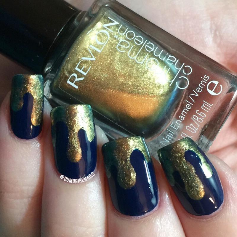 Liquid Gold nail art by Michelle