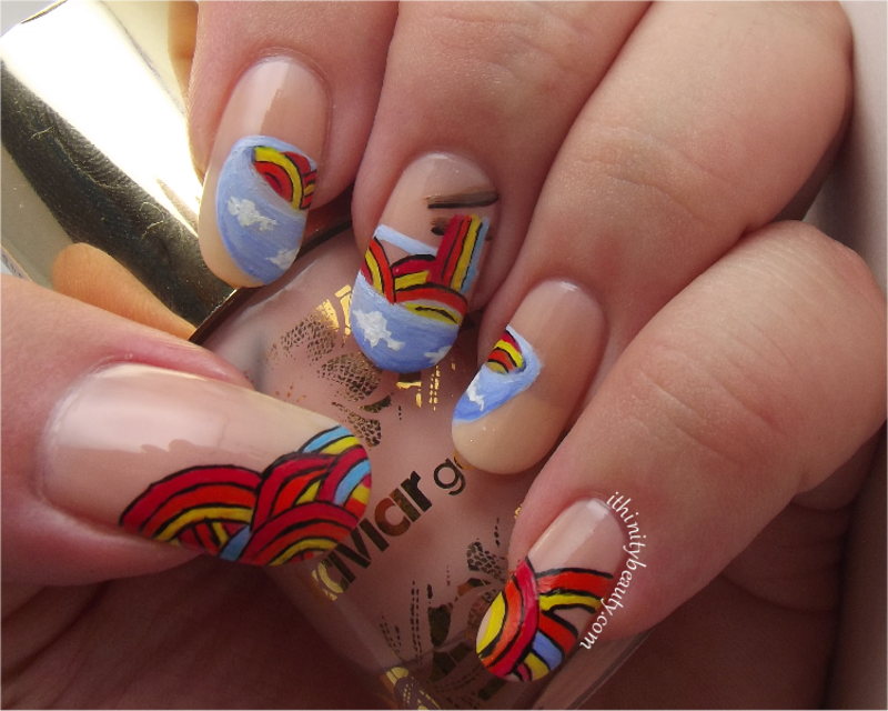 Freehand Rainbow Noodles nail art by Ithfifi Williams
