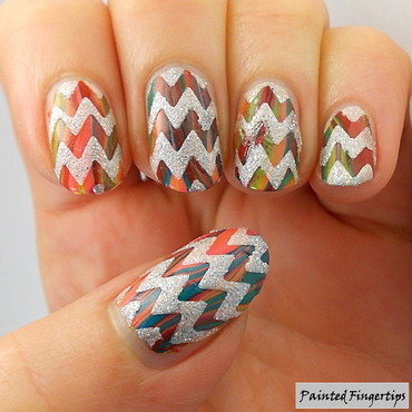 Zigzags over a water marble nail art by Kerry_Fingertips