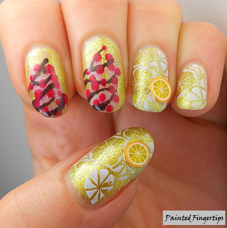 Lemons and cherry blossoms nail art by Kerry_Fingertips