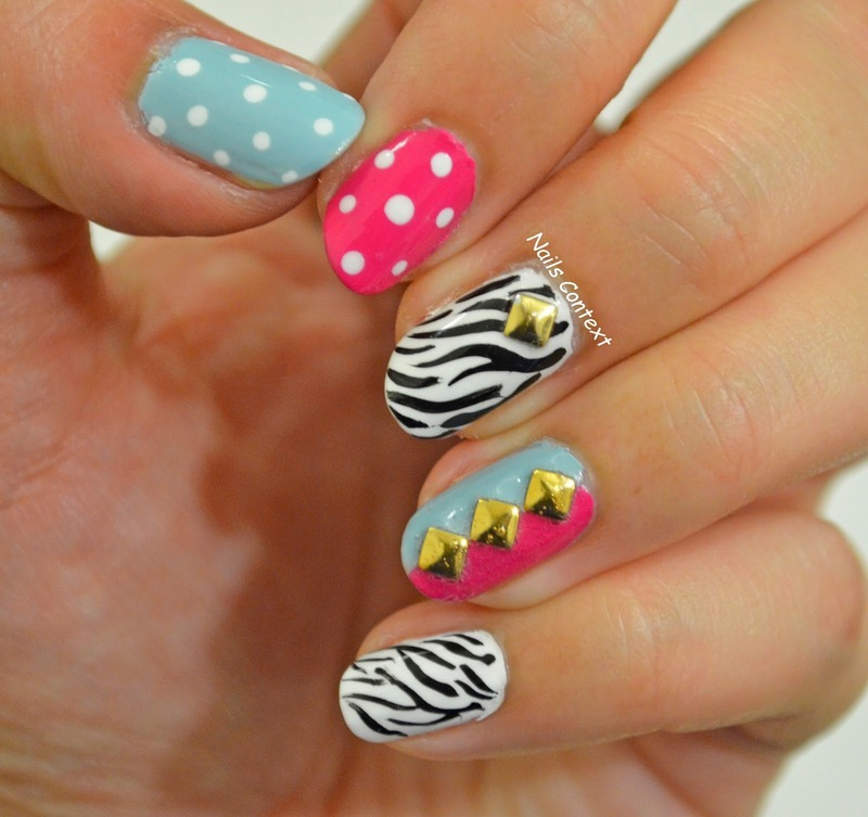Zebra Print and Studs nail art by NailsContext