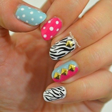 Zebra Print and Studs nail art by NailsContext