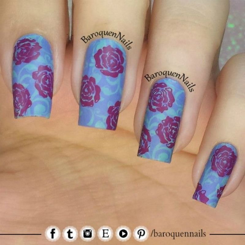Colorful Floral nail art by BaroquenNails