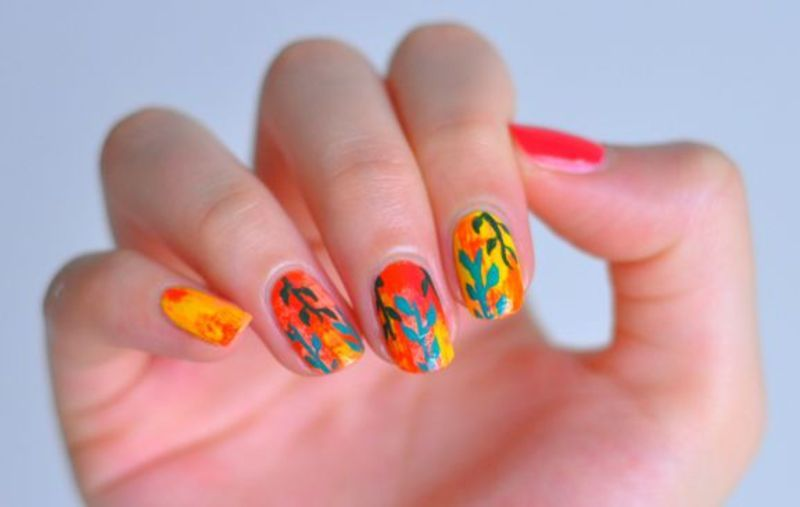 Hot Plants nail art by Lucy (the Nail Snail)