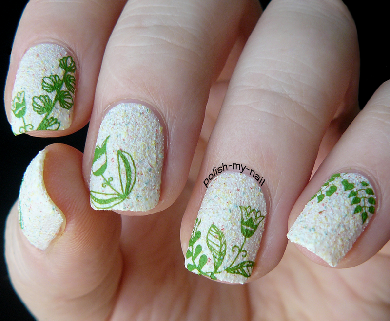 Green stamps nail art by Ewlyn