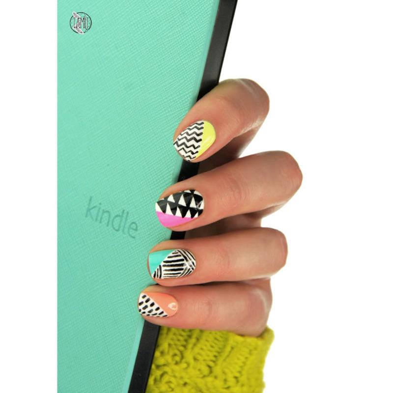neon + black and white nails nail art by Paulina