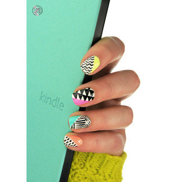 neon + black and white nails nail art by Paulina