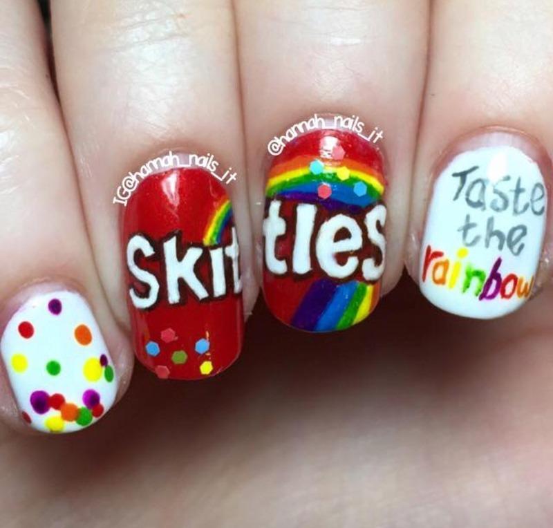Skittles nail art by Hannah